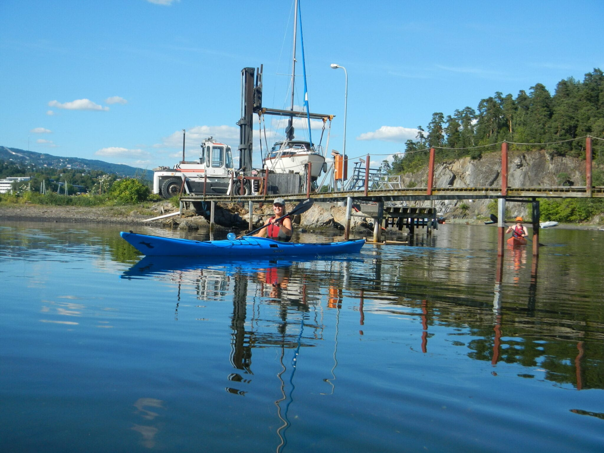 Kayaking under the bridge